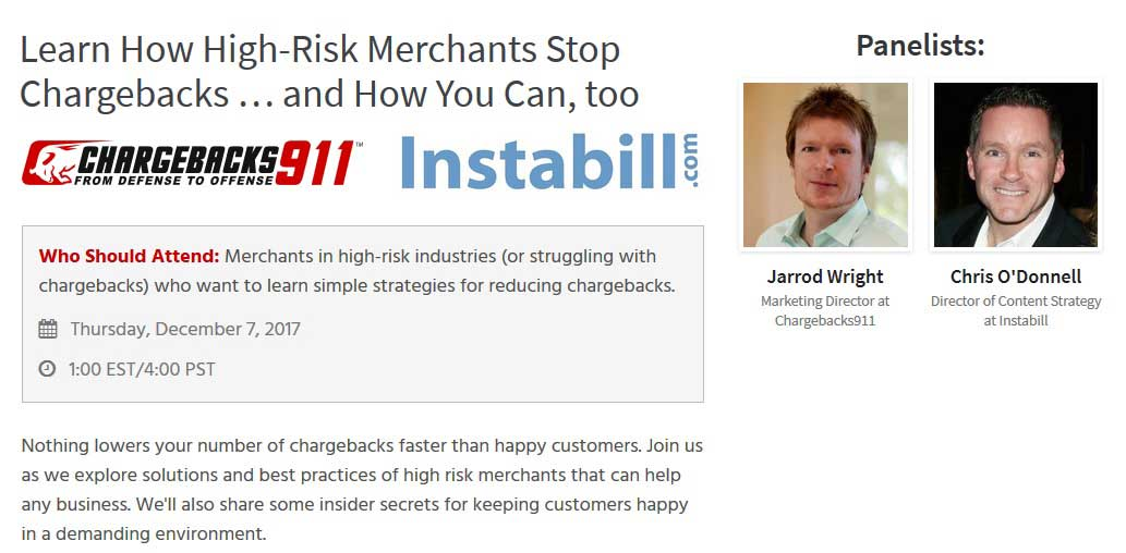 Instabill Co-Hosting Webinar to Prevent Credit Card Chargebacks